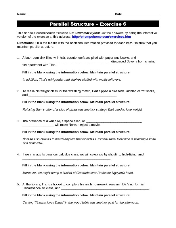 Parallel Structure Worksheet with Answers 34 Parallel Structure Worksheet with Answers Worksheet