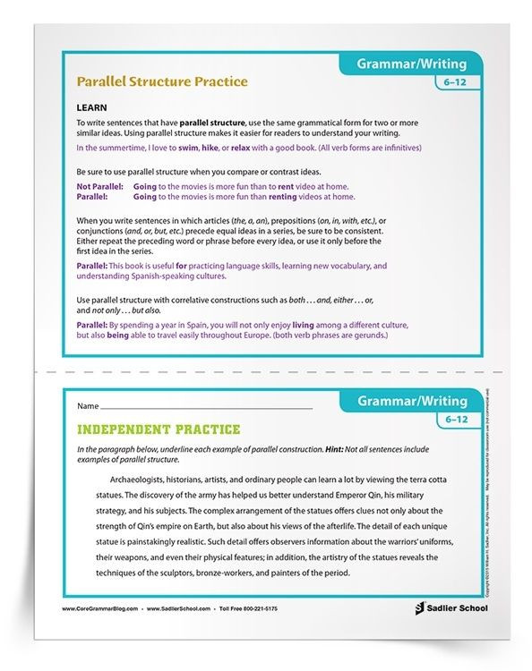 Parallel Structure Worksheet with Answers Activities for Parallel Structure Practice Grades 6–12