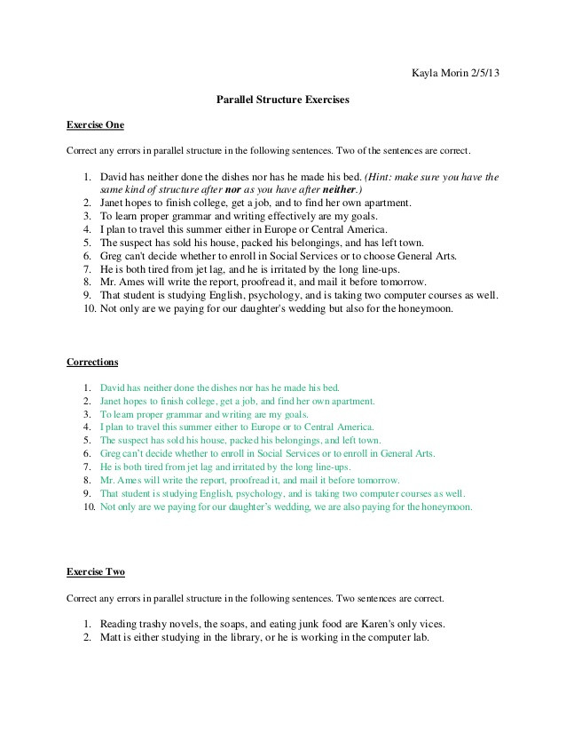 Parallel Structure Worksheet with Answers Feb 5 English Parallel Structure Excercises