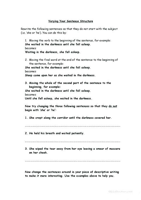Parallel Structure Worksheet with Answers Free Sentence Structure Worksheets – Timothyfregosoub