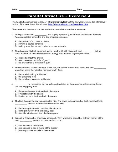"Parallel Structure Worksheet with Answers Parallel Structure ¢€"" Exercise 4 Grammar bytes"