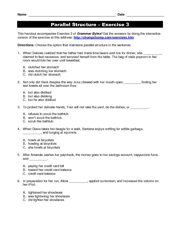 Parallel Structure Worksheet with Answers Parallel Structure Exercise 3 Worksheet for 4th 12th
