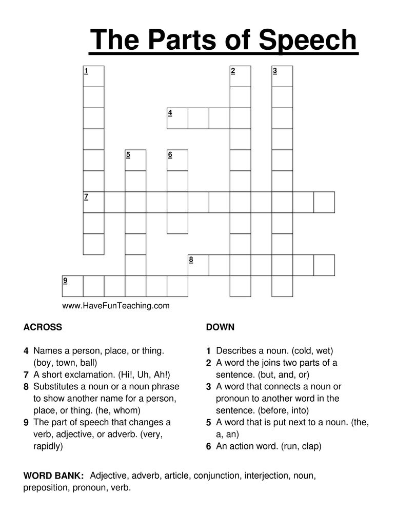 Part Of Speech Worksheet Pdf Parts Of Speech Crossword Puzzle
