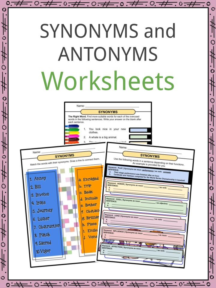 Part Of Speech Worksheet Pdf Synonyms and Antonyms Worksheets Pdf Study Guide