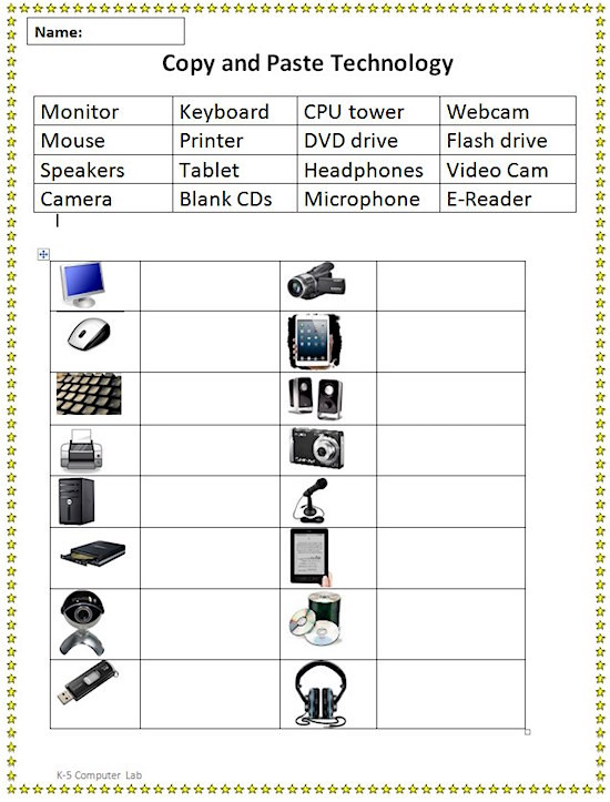 Parts Of A Computer Worksheet Cut and Paste Puter Parts