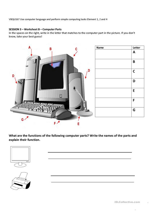 Parts Of A Computer Worksheet Puter Parts and their Functions English Esl Worksheets
