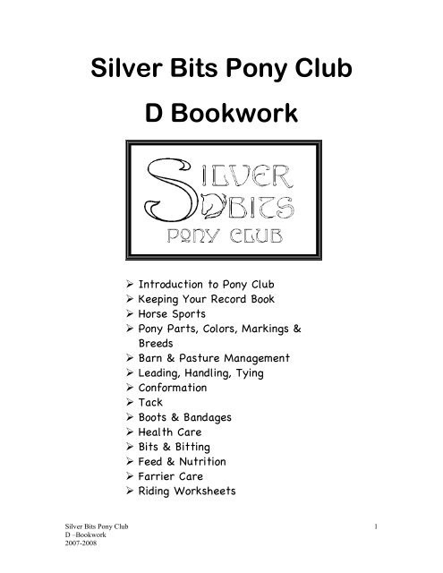 Parts Of the Horse Worksheet Silver Bits Pony Club D Bookwork