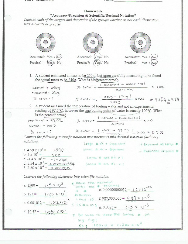 Percent Error Worksheet Answers Accuracy and Precision Percent Error Worksheet Answers