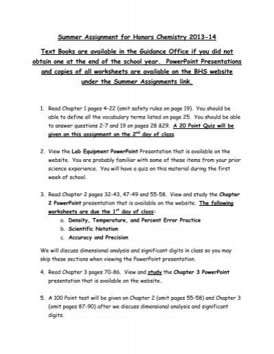 Percent Error Worksheet Answers Summer assignment and Worksheets for Honors Chemistry 2013