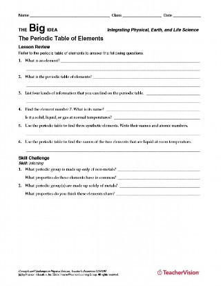 Periodic Table Worksheet Answers the Periodic Table Of Elements Chemistry Printable for