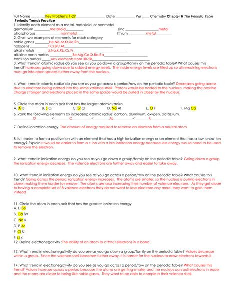 Periodic Trends Practice Worksheet Answers Download Periodic Trends Practice Problems Answers Key