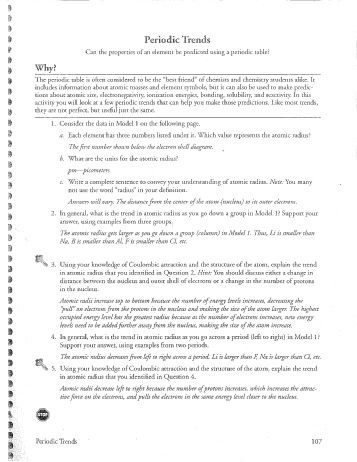 Periodic Trends Practice Worksheet Answers Periodic Trends Worksheet Answers Pogil Worksheets with