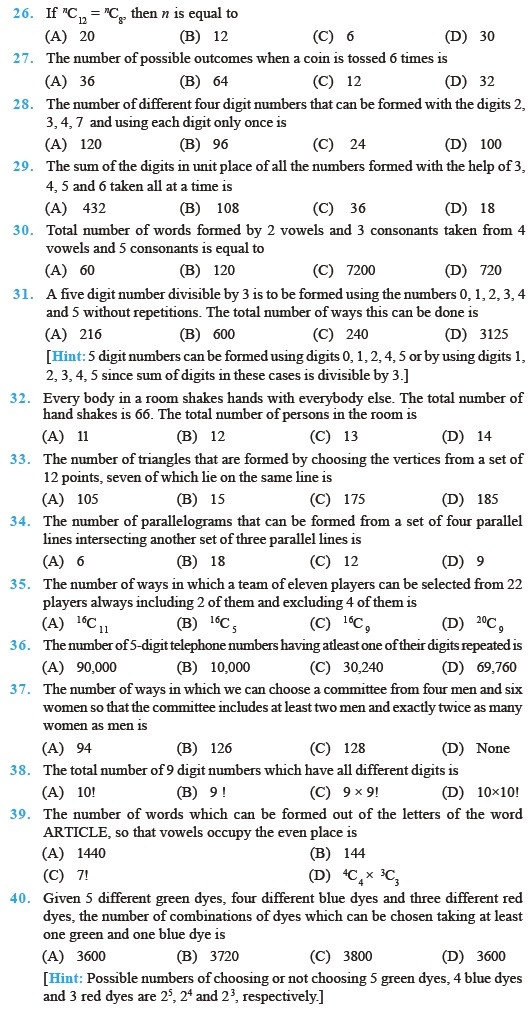 Permutations and Combinations Worksheet Answers Class 11 Important Questions for Maths Permutations and