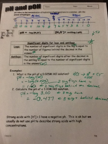 Ph and Poh Worksheet Chemistry 12 Ph Poh and Mixing Strong Acids and Bases