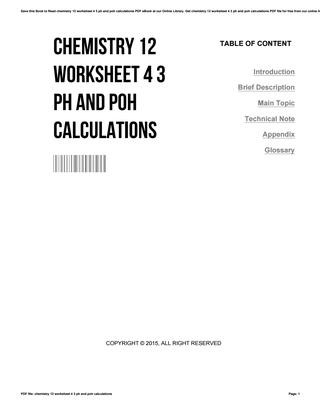 Ph and Poh Worksheet Chemistry 12 Worksheet 4 3 Ph and Poh Calculations by