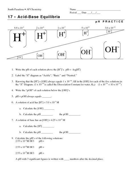 Ph and Poh Worksheet Pin On Chemistry