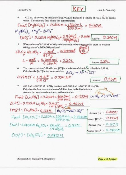 Ph and Poh Worksheet solutions Chemistry Worksheet with Answers Di 2020