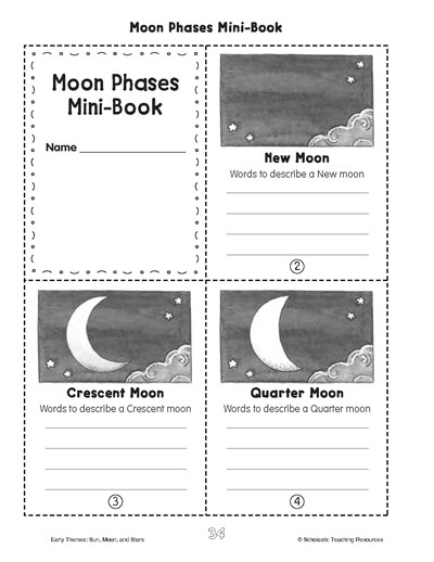 Phases Of the Moon Worksheet Minibook Moon Phases Worksheets & Printables