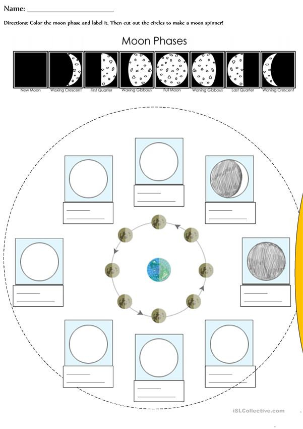 Phases Of the Moon Worksheet Moon Phases English Esl Worksheets for Distance Learning
