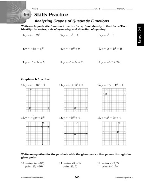Piecewise Functions Worksheet Answer Key 6 6 Skills Practice Analyzing Graphs Of Quadratic Functions