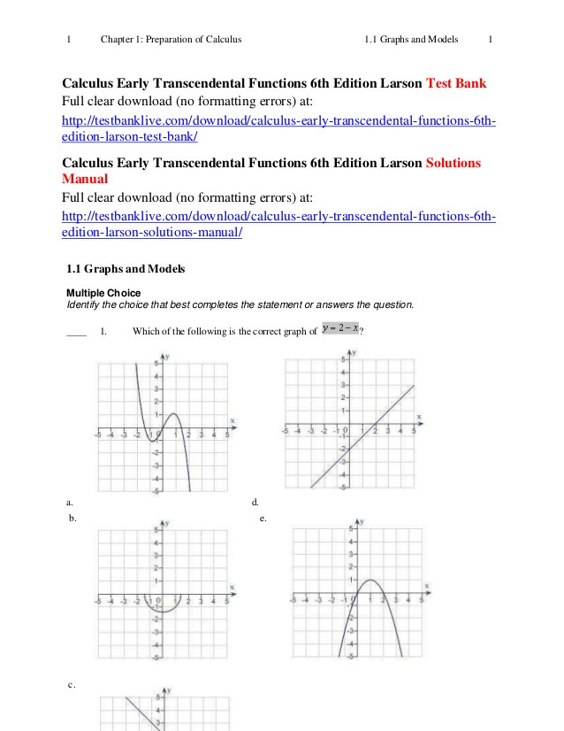 Piecewise Functions Worksheet Answer Key Calculus Early Transcendental Functions 6th Edition Larson