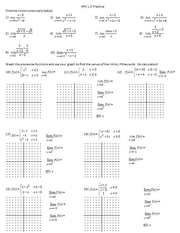 Piecewise Functions Worksheet Answer Key Limits – Insert Clever Math Pun Here