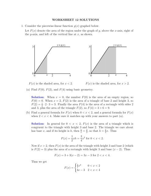 Piecewise Functions Worksheet with Answers Worksheet 12 solutions 1 Consider the Piecewise Linear