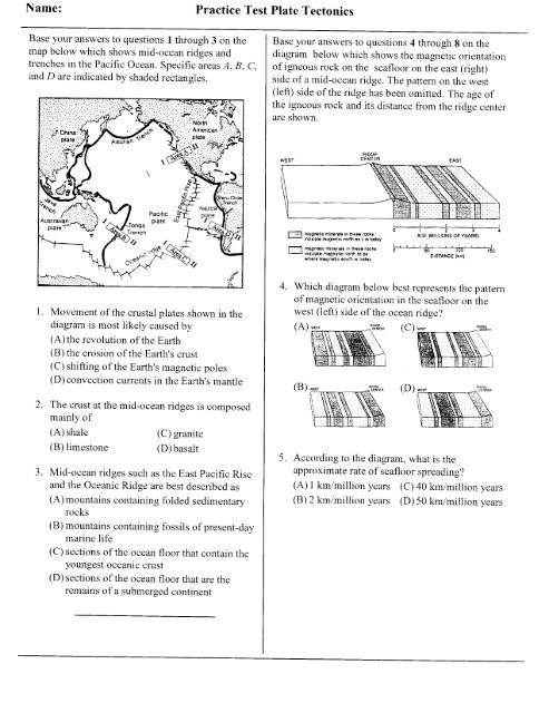 Plate Tectonics Worksheet Answer Key Plate Tectonics Practice Test Red Hook Central School District