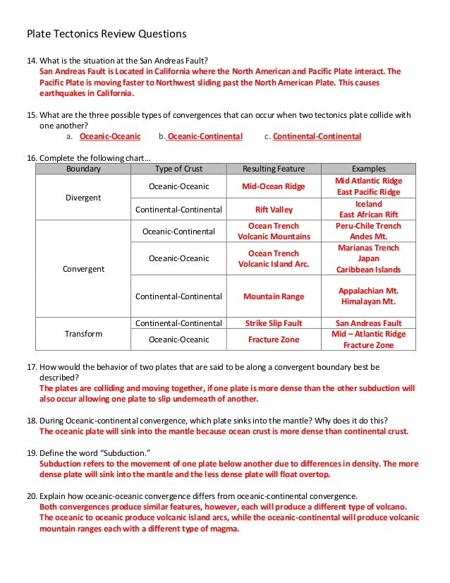 Plate Tectonics Worksheet Answer Key Plate Tectonics Review Answers
