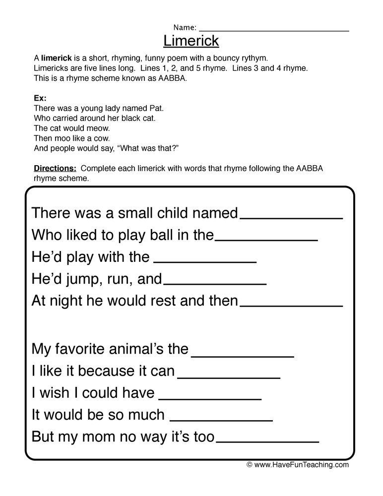 Poetry Worksheets Middle School Limerick Fill In the Blank Worksheet