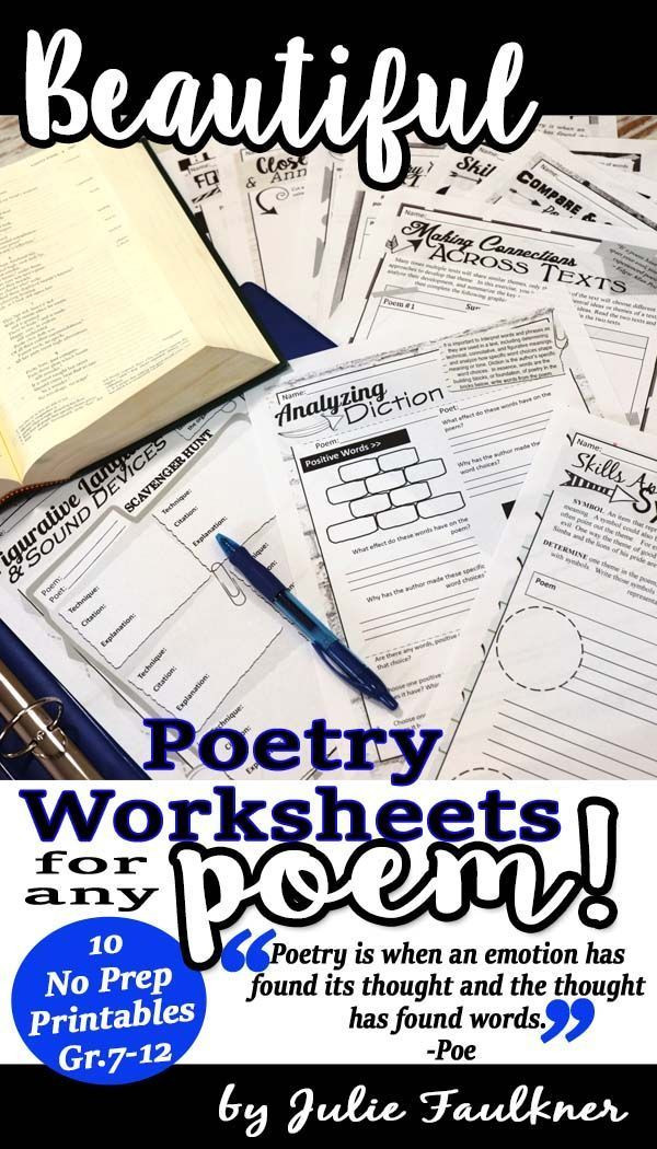 Poetry Worksheets Middle School Poetry Worksheets Analysis & Prehension for Any Poem No