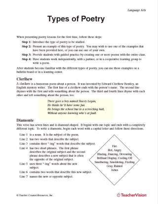 Poetry Worksheets Middle School Types Of Poetry Printable 5th 8th Grade Teachervision