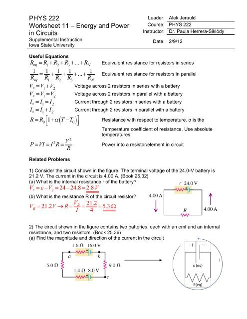 Point Of View Worksheet 11 Phys 222 Worksheet 11 Energy and Power In Circuits Answers