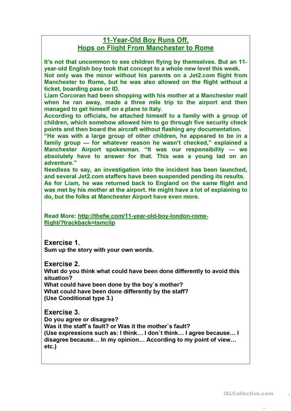 Point Of View Worksheet 11 Read and Talk 11 Year Old Boy Runs Off English Esl
