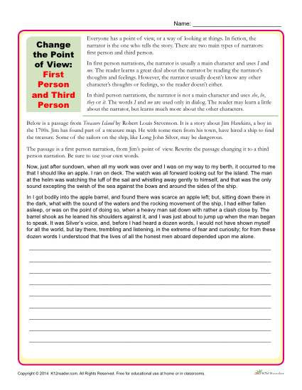 Point Of View Worksheet Change the Point Of View Worksheet