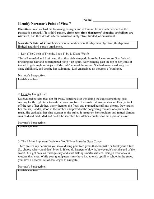 Point Of View Worksheet Identify Narrator S Point Of View 7