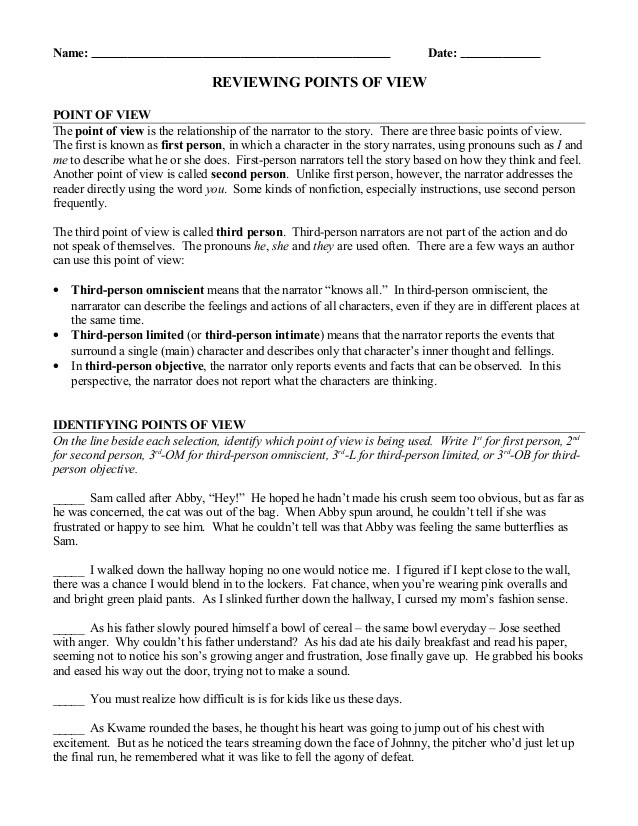 Point Of View Worksheet Point Of View Review Worksheet