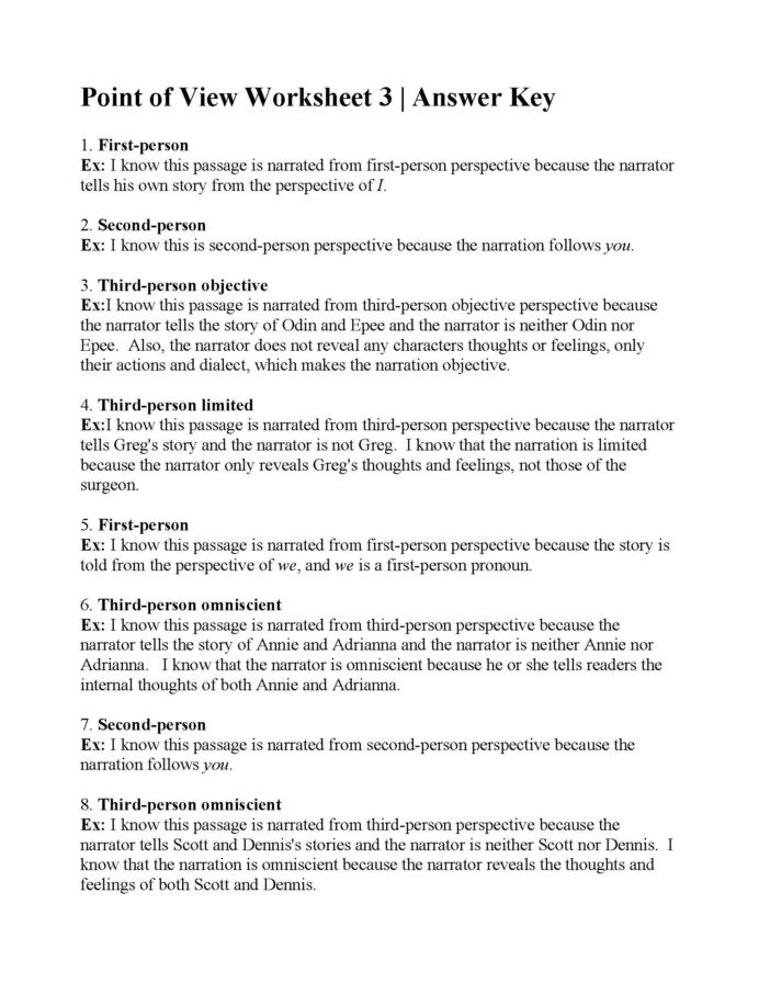 Point Of View Worksheet Point View Worksheet Answers Worksheets 4th Grade