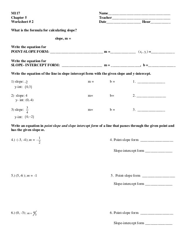 Point Slope form Worksheet 6 5 Point Slope Converting