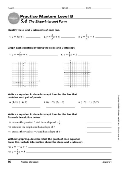 Point Slope form Worksheet Masters Level B 5 4 the Slope Intercept form Worksheet for