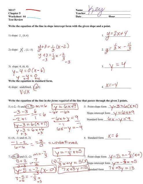 Point Slope form Worksheet Test Review Ws Answers