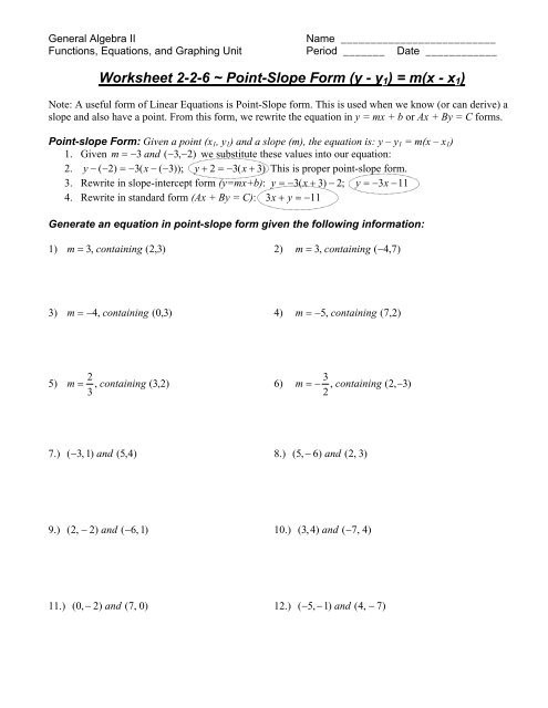 Point Slope form Worksheet Worksheet 2 2 6 Point Slope form