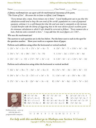 Polynomial Word Problems Worksheet Adding and Subtracting Polynomials Worksheets Free