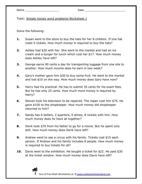 Polynomial Word Problems Worksheet Simple Money Word Problems 5 Pack Math Worksheets Land