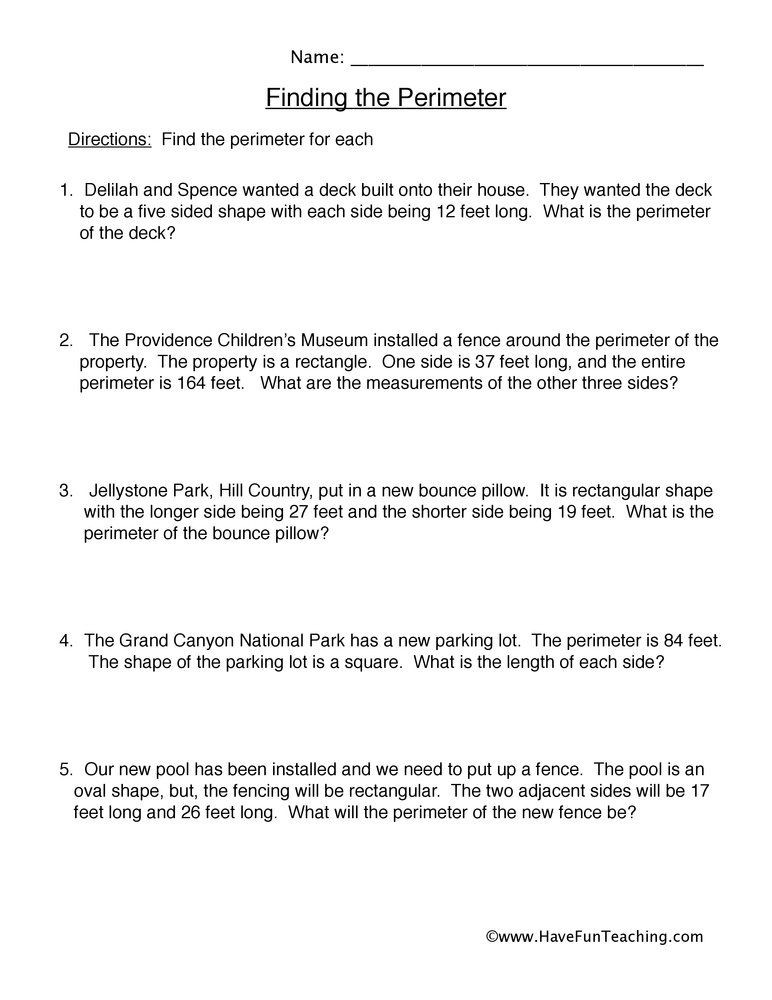 Polynomial Word Problems Worksheet solving Perimeter Word Problems Worksheet