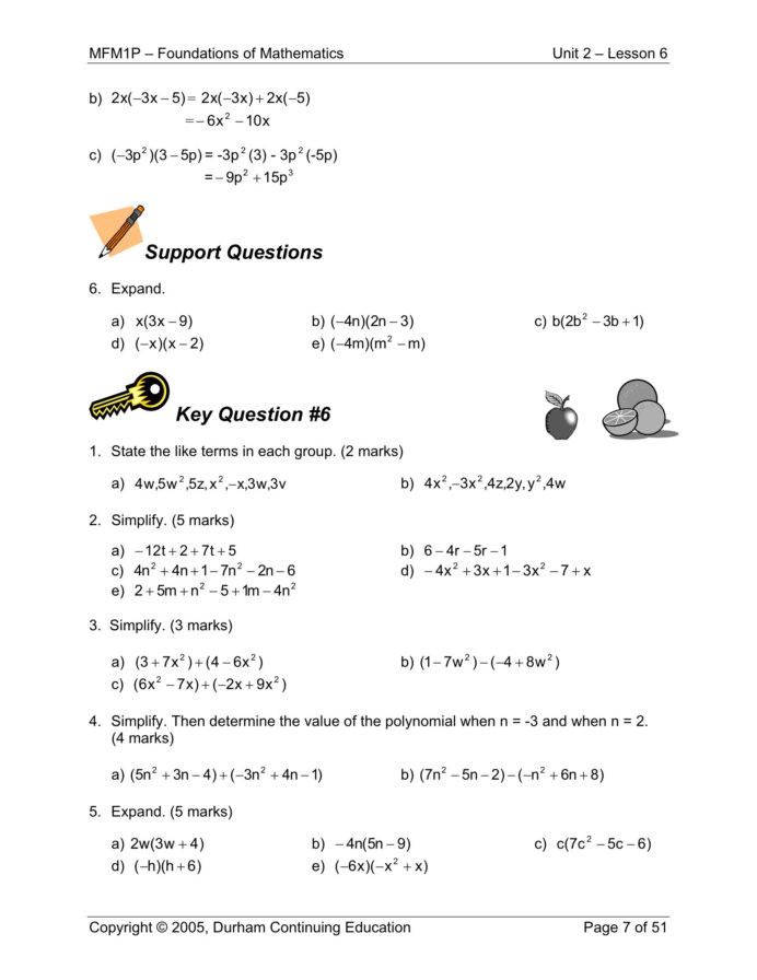 Polynomial Word Problems Worksheet Sums for Grade 1 Grade 9 Math Polynomial Worksheets Learning