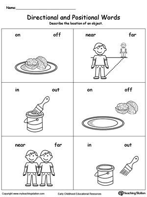 Positional Words Worksheets for Preschool Directional and Positional Words