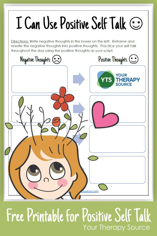 Positive Self Talk Worksheet Positive Self Talk for Kids Your therapy source