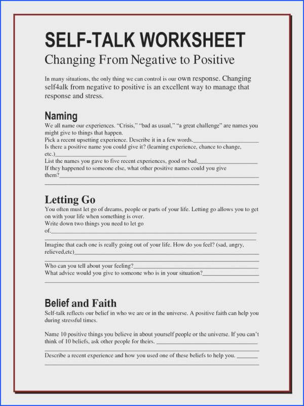 Positive Self Talk Worksheet the Worry Bag Self Talk Worksheet the Healing Path with