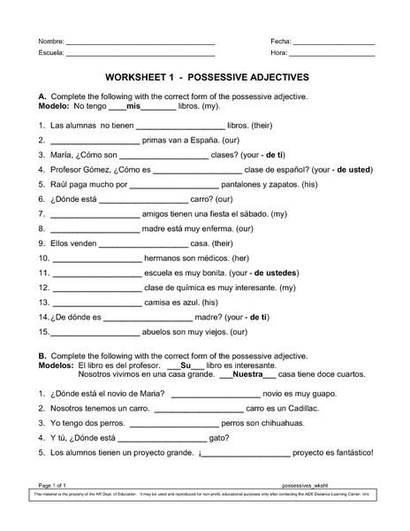 Possessive Adjective Spanish Worksheet Possessive Adjectives Spanish Worksheet softagni